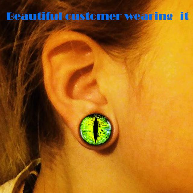 Snake Eye Black Wood Gauge Ear Plugs Piercings 2 units