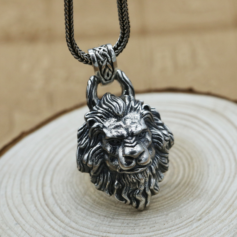 Factory Wholesale S925 Sterling Silver Jewelry Lion Head Pendant Men And Women Thai Silver Retro Personality