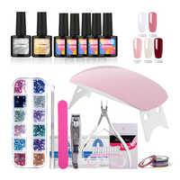 ROSALIND 10ml Nail Gel Soak-off Gel Polish Coat Gel Nails Polish Kit Mini Lamp 5 colors Art Tools Sets For Manicure