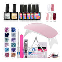 ROSALIND 10ml Nail Gel Soak-off Gel Polish Coat Gel Nails Polish Kit Mini Lamp 5 colors Art Tools Sets For Manicure