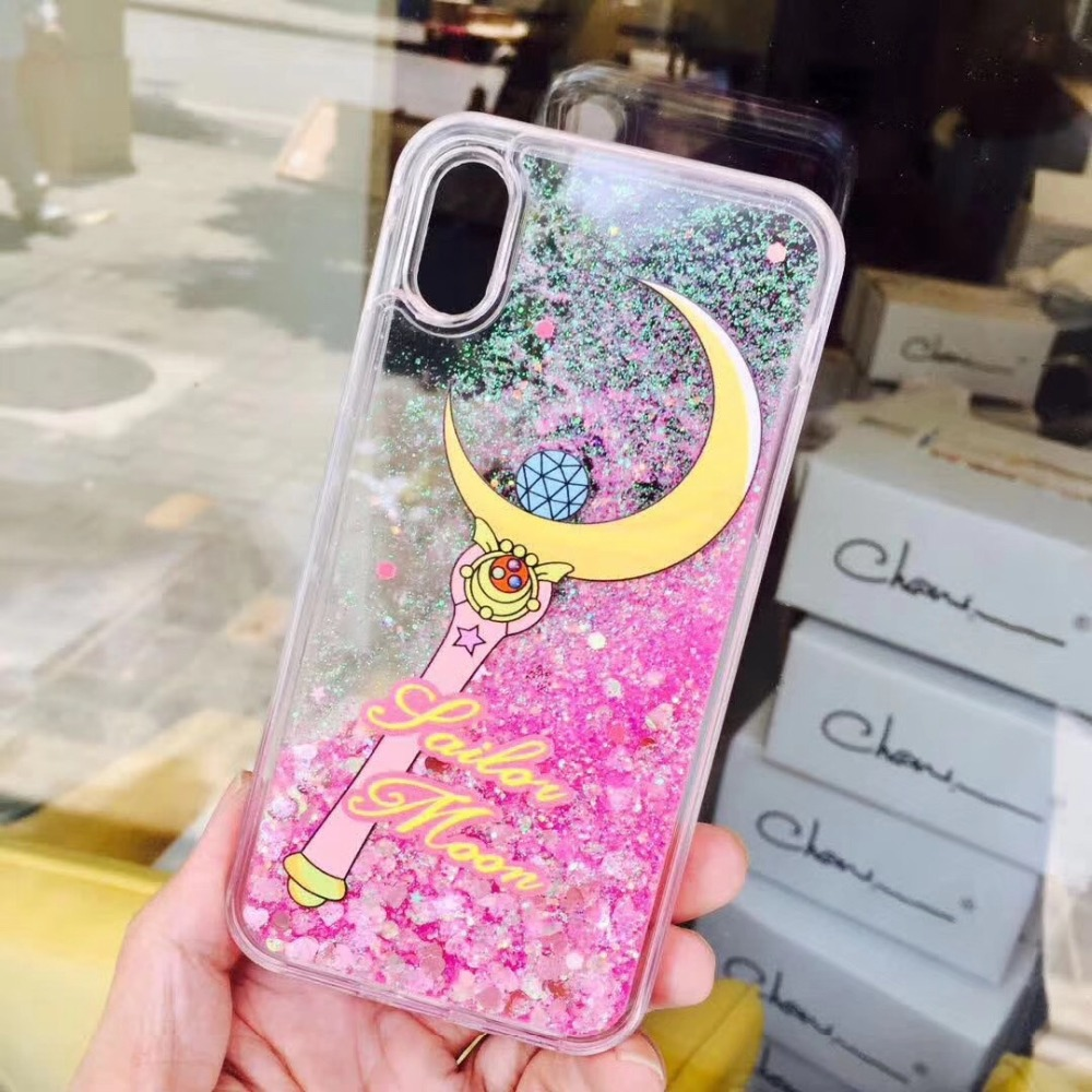Bright Cartoon Sailor Moon Wand Quicksand Dynamic Clear Full Cover Mobile Phone Case For Iphonexs 8/6s 7plus Liquid Shell Protect Fitted Cases Phone Bags & Cases