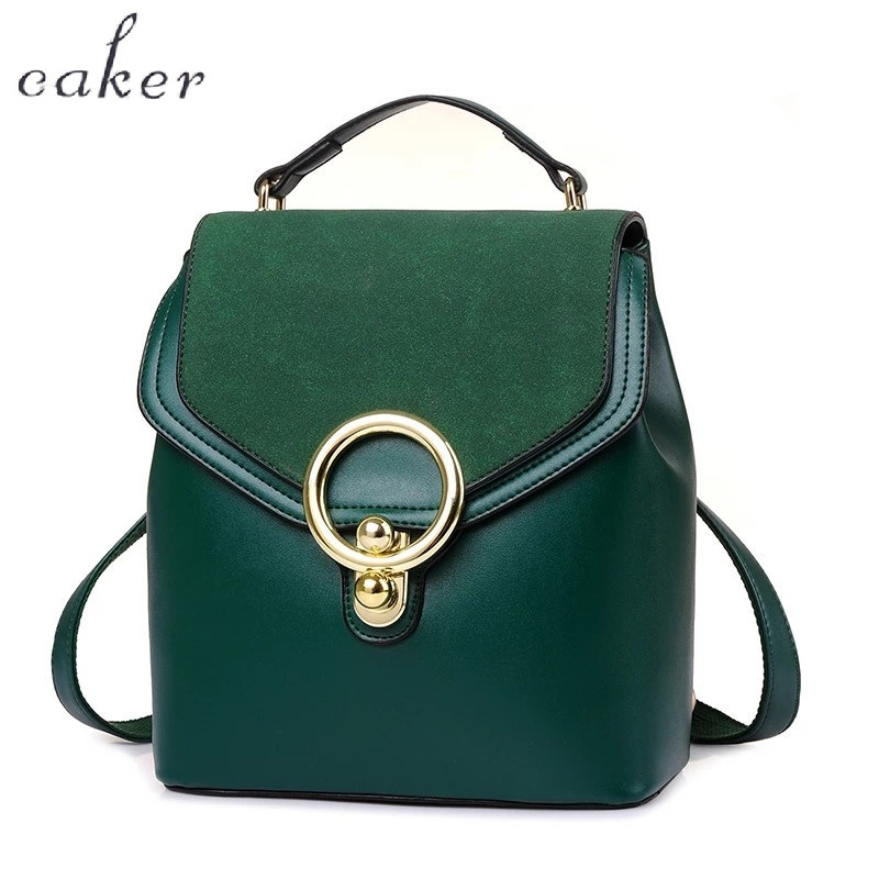 Caker 2017 Women PU Scrub Mini Backpack Black Green Preppy Style School Bags With Ring Female
