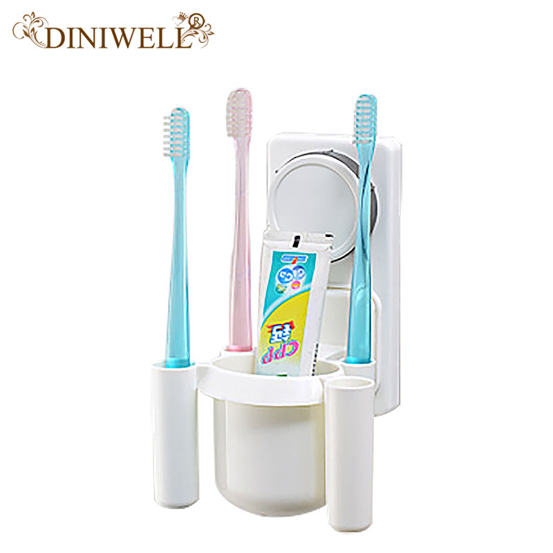 DINIWELL Home Organization Storage Holders White Unique Durable Racks For Bathroom Cosmetic Toothbrush Toothpaste organizer