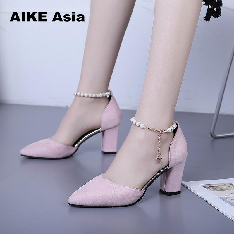 High Heels Shoes Women Pumps Buckle Strap Sexy Thin High Heels Two Piece Heels Pointed Toe Fashion Ladies Shoes  String Bead 188High Heels Shoes Women Pumps Buckle Strap Sexy Thin High Heels Two Piece Heels Pointed Toe Fashion Ladies Shoes  String Bead 188