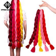 Spring sunshine 82 inch Kanekalon Crochet Braids Hair Synthetic Fiber Braiding Hair 165g pure color Jumbo Braid Hair Extensions(China)