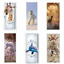 דלת מדבקות 3D ג ירפה פיל נמר סוס סלון חיה דלתות דקורטיבי פוסטרים עמיד למים אמנות טפט לחדר שינה