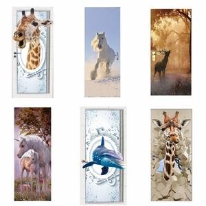 Image 1 - 도어 스티커 3d 기린 코끼리 호랑이 말 동물 거실 문 장식 포스터 방수 아트 벽지 침실