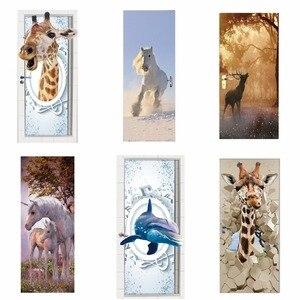 Image 1 - Door Stickers 3D Giraffe Elephant Tiger Horse Animal Living Room Doors Decorative Posters Waterproof Art Wallpaper for Bedroom