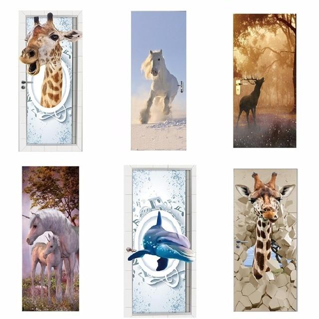 Door Stickers 3D Giraffe Elephant Tiger Horse Animal Living Room Doors Decorative Posters Waterproof Art Wallpaper for Bedroom