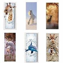 Porta adesivos 3d girafa elefante tigre cavalo animal portas da sala de estar cartazes decorativos arte papel parede à prova dwaterproof água para o quarto