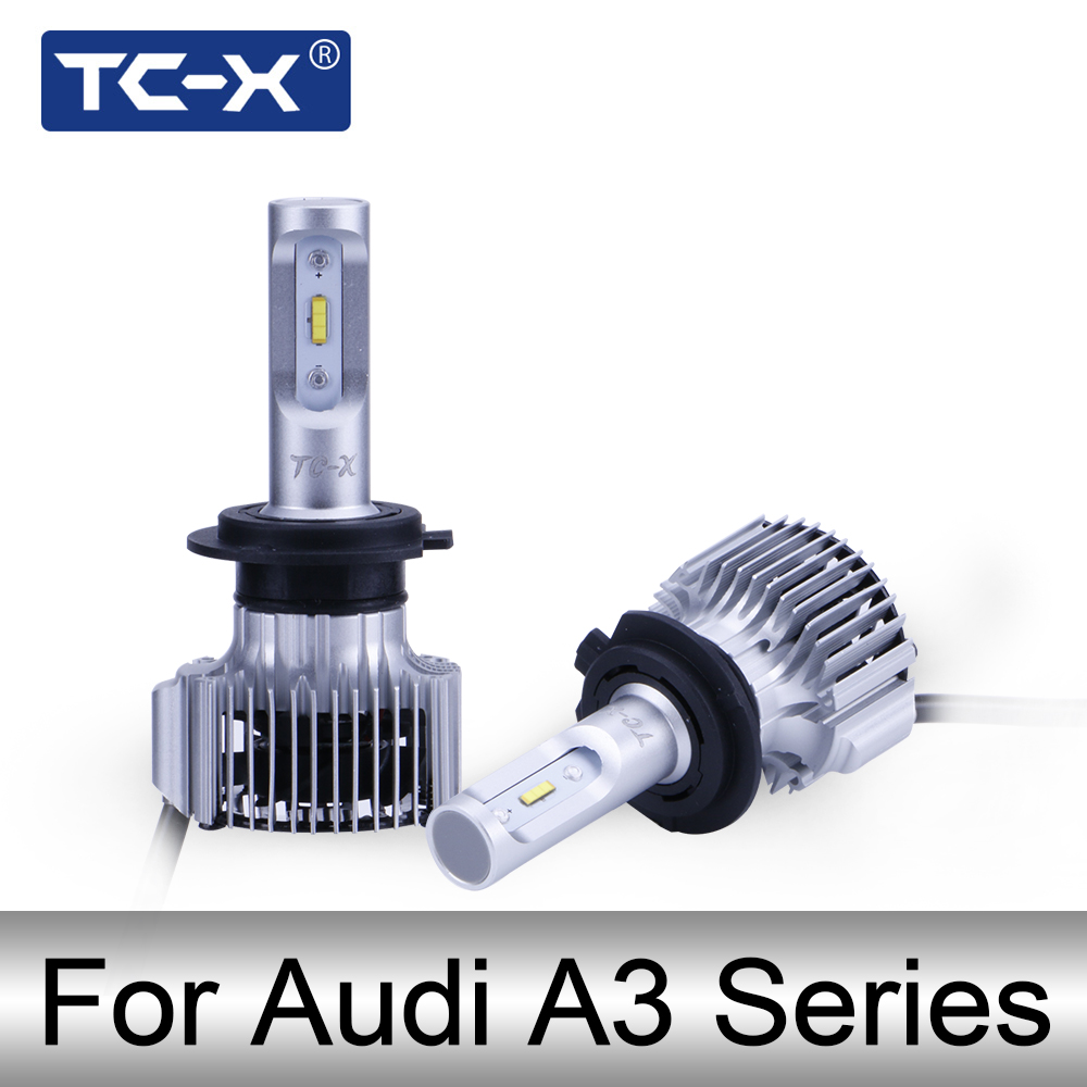 TC-X LED Headlight Bulb H1 H3 H7 H11 For Audi A3 (8P 8L 8PA) Sportback Convertible H1 H3 H7 H11 LED High low Beam foglight Blubs