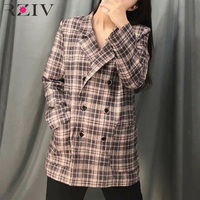 RZIV Spring suit women casual plaid double breasted suit