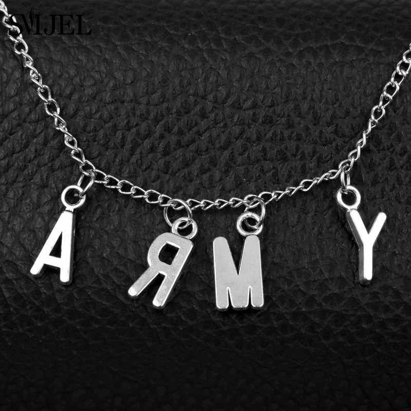 SMJEL Bts Jewelry KPOP Bangtan Boys Jin SUGA j-hope Jimin Pendant Necklace ARMY Choker Necklace Women Men Love Yourself Accessor