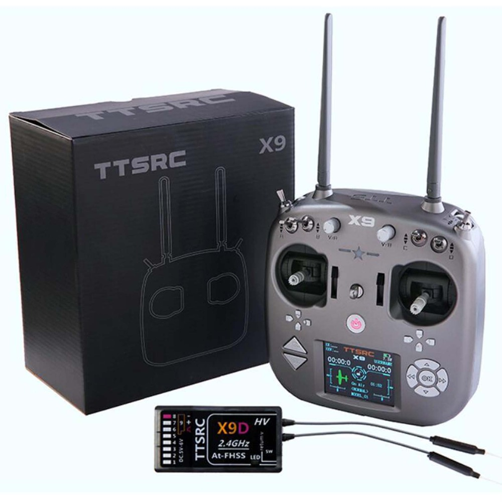 New TTSRC X9 Remote Control 2.4G 9CH  Transmitter Receiver 2.8inch Color Screen R9D For RC Airplane Racing Drone