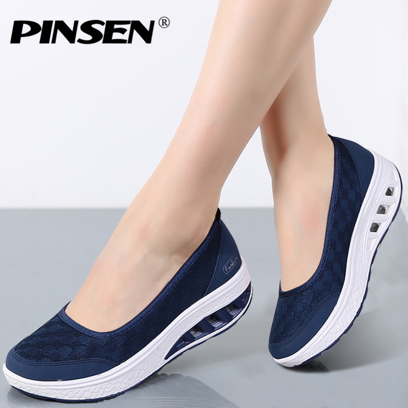PINSEN 2018 Sneakers Flat Platform Women Shoes Slip On Casual Ladies Flats Loafers Shoes Woman Moccasins creepers zapatos mujer stripe loafers casual women canvas shoes platform mother flat shoes woman comfortable slip on flats size 35 40 xwd4442
