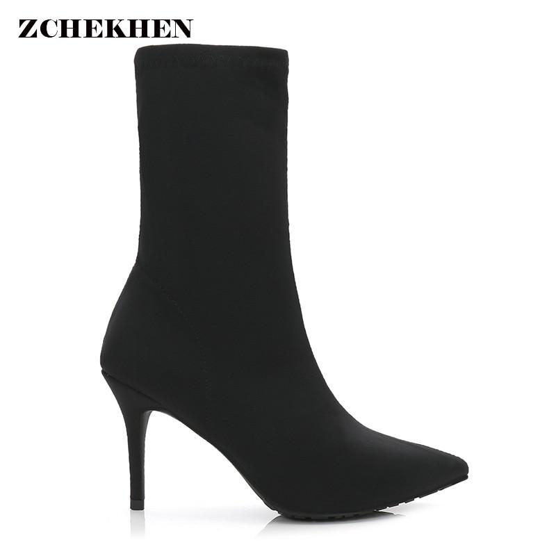Stretch Fabric Women sexy Sock Boots Pointed Toe Mid-Calf Women kardashian Boots Brand Design Thin High Heel Women Boots