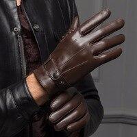 YY8597-guantes cortos de cuero auténtico para hombre, manoplas finas/gruesas negras/marrones con pantalla táctil Gant Gym para conducir