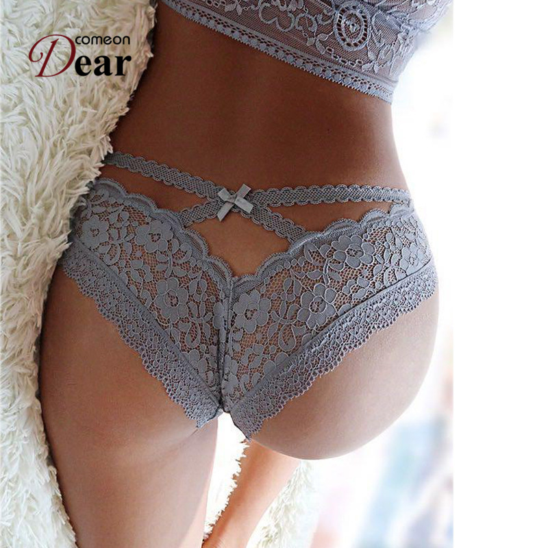 Comeondear Knickers For Women Plus Size 2XL <font><b>3XL</b></font> Lace Briefs See Through <font><b>Sexy</b></font> Underwear Women Low Rise Brazilian <font><b>Panties</b></font> PB5172 image
