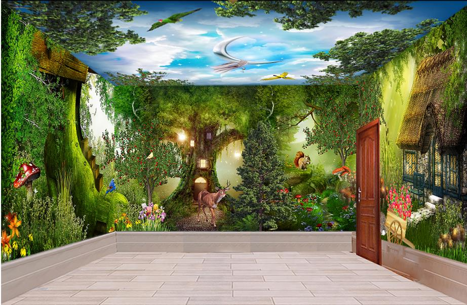 custom 3d ceiling wall murals wallpaper forest cabin whole