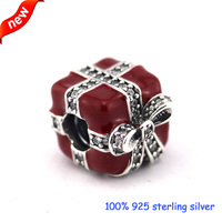 Fits Pandora Bracelets Sparkling Surprise Silver Beads With Red Enamel 100% 925 Sterling Silver Charms DIY Jewelry Wholesale 301