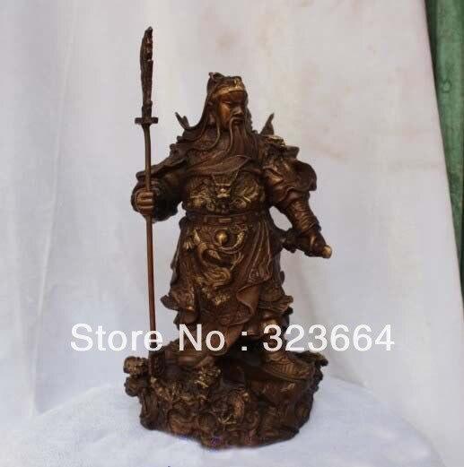 12 Chinese Bronze Gilt 9 Dragons GuanGong Guan Gong Yu Hold Sword font b Knife b