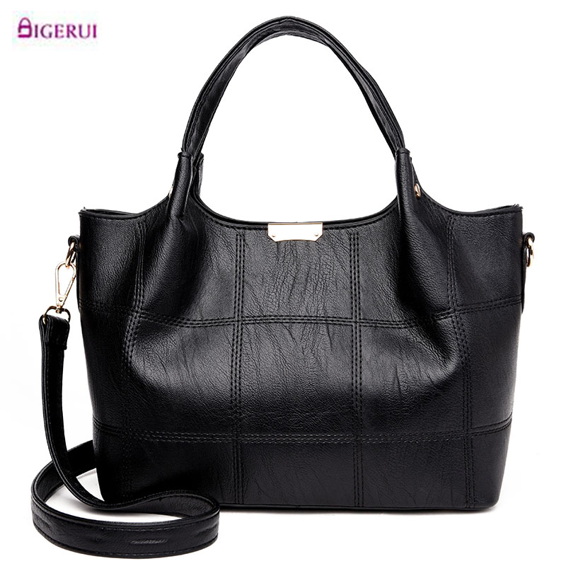 Bolsa Feminina Preta Fashion Leather Women Bag Designer Handbags High Quality 2017 Ladies Bags Famous Shoulder Bag New Sac A75 3 piece new oil wax leather women bags set handbags fashion shoulder bag female high quality famous brand purse bolsa feminina