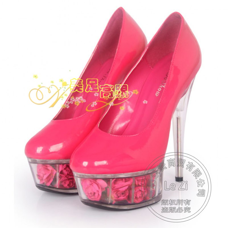 Patent Leather Hot Pink Slip On Flowers Stiletto Platform Ultra Super Transparent font b Women b