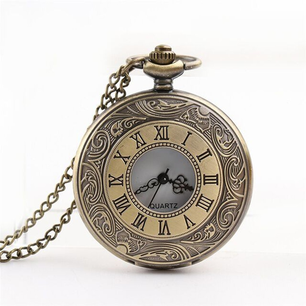 Pocket Watch Personalized Roman Numeral Cover Steampunk Vintage Quartz Pocket Watch Retro Design Reloj De Bolsillo Taschenuhr