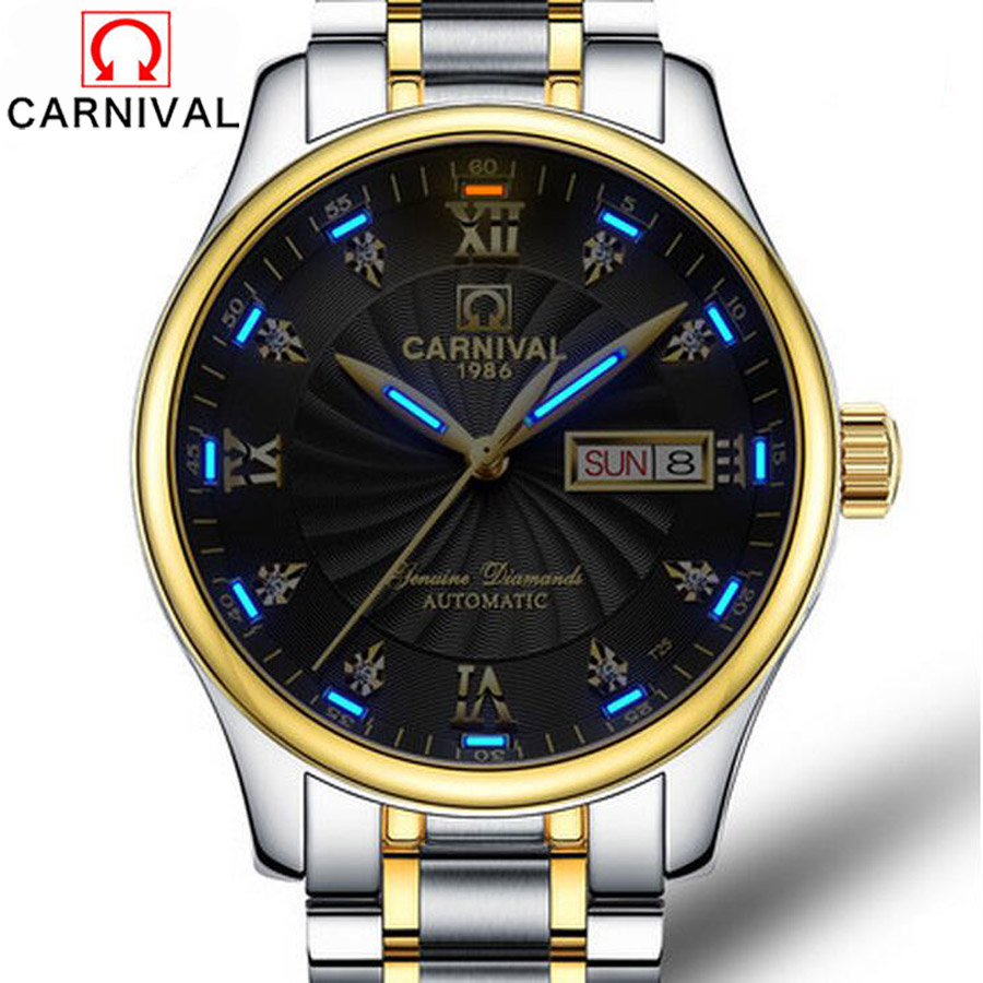 Carnival Tritium Luminous Series Luxury Business Men's Watches Top Brand Automatic mechanical Watch Waterproof Sapphire Glass yelang v1015 upgrade version khaki number tritium gas yellow luminous men automatic mechanical business watch steel watchband