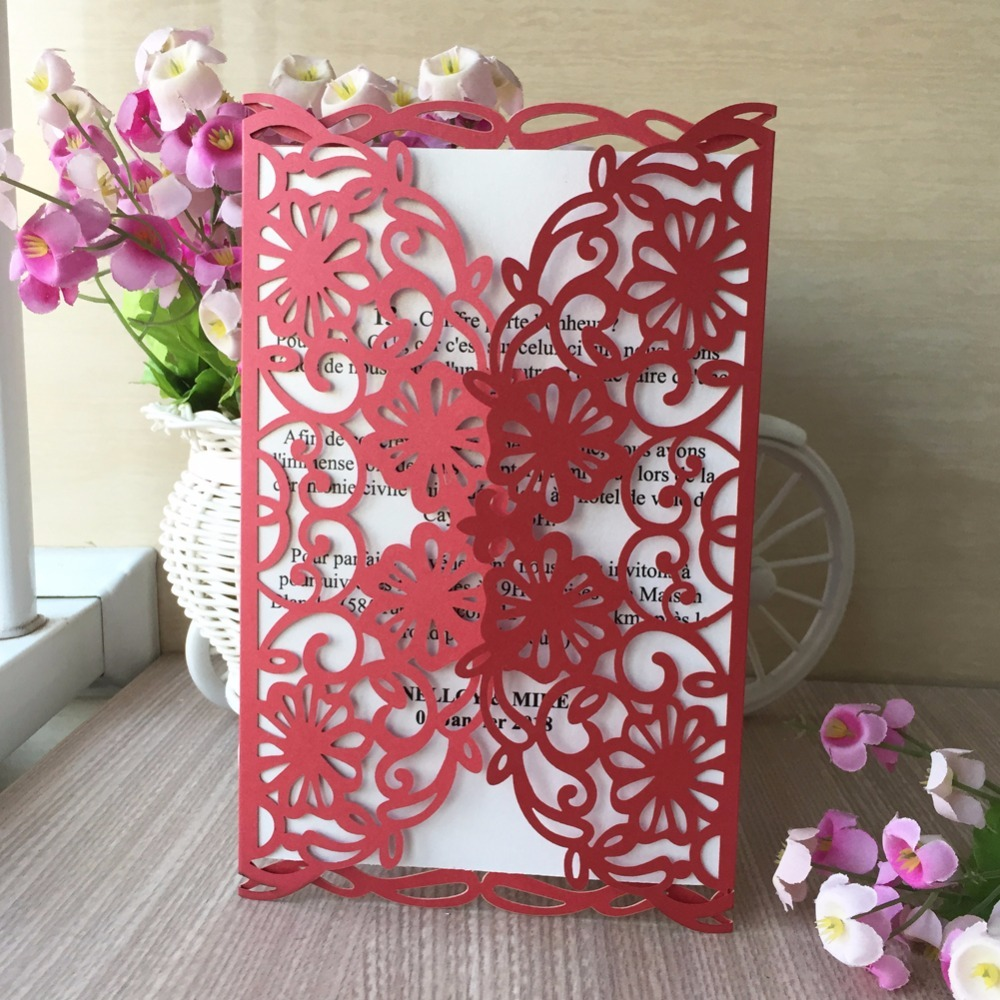50pcs Graceful Rose Flowers Two Folds Laser Cut Pocket Wholesale ...