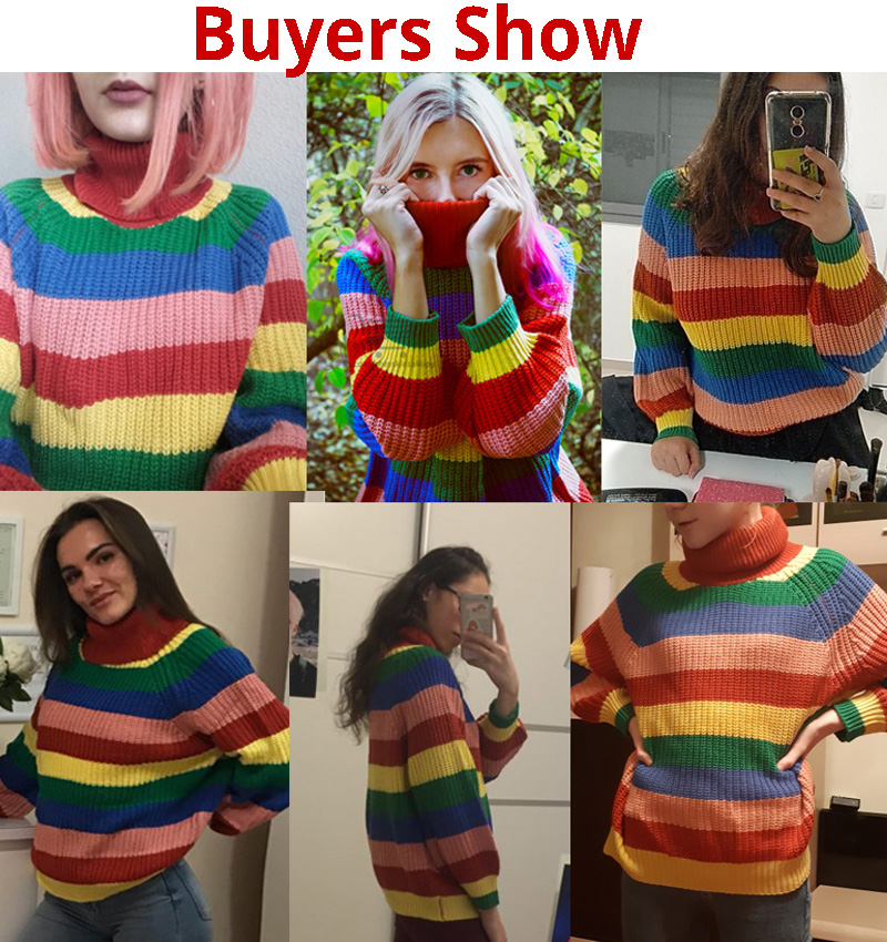 Simenual Rainbow turtleneck sweaters women winter 18 jumpers knitted clothes fashion striped oversized pullover female sale 2