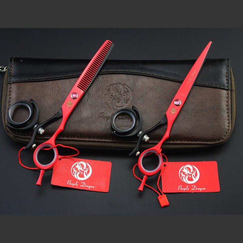 Purple Dragon 6 inch Hair Scissors Professional High Quality 440c Japanese Steel 360 Degree Rotation Cutting Flying Shears