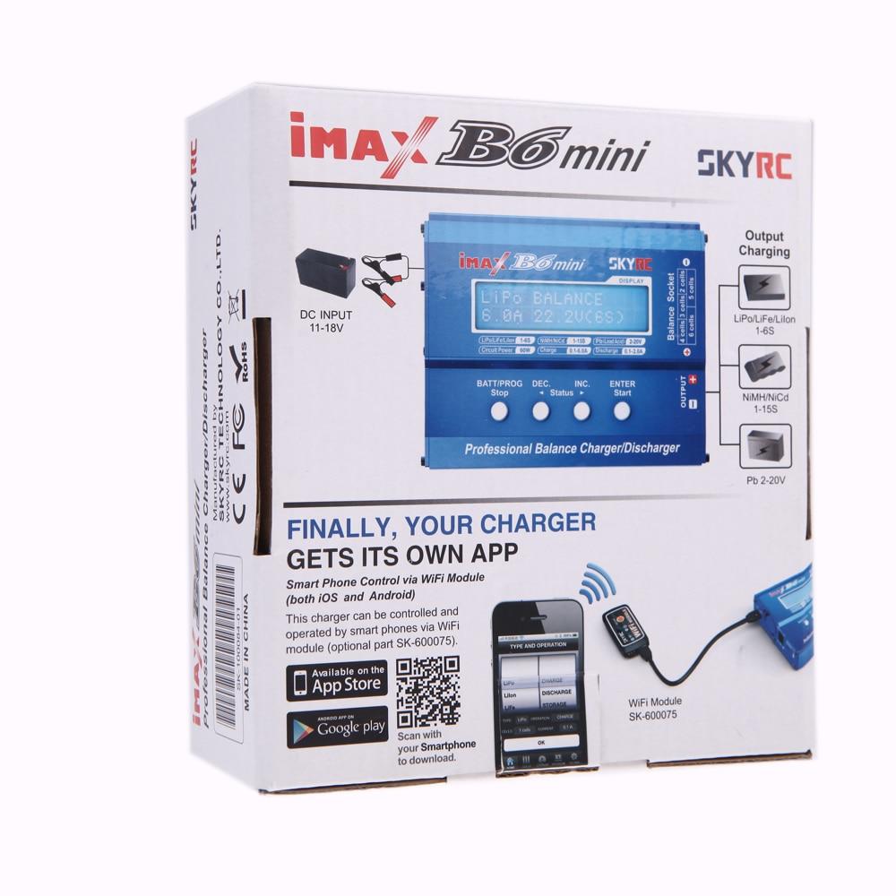 100% Original SKYRC IMAX B6 MINI 60 W 5 W Max cargador de equilibrio de W/conector de Cable de carga para helicóptero RC batería Lipo