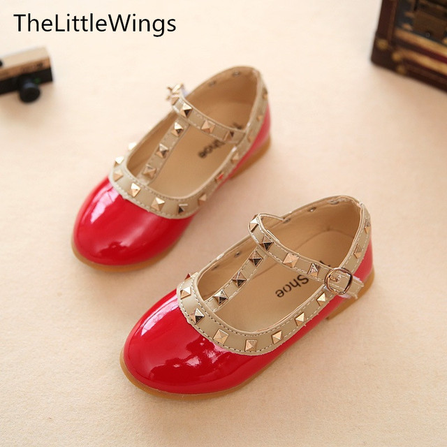 Fashion 2017 Autumn New Girls Party Shoes Chaussure Cute Flat Princess Liang Pi Kids Wedding