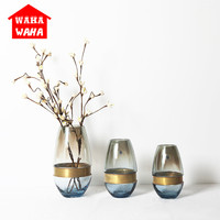 Nordic Transparent Glass Vase Gold Copper Ring Flower Vases Livingroom Offoce Table Handmade Glass Flower Arrangement Home Decor