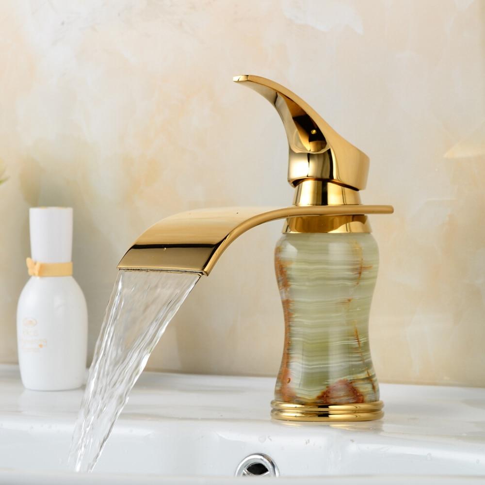 BAKALA New Deck mounted brass and Jade faucet Bathroom Basin faucet Mixer Tap Gold Sink Faucet Bath Basin Sink Faucet B-1004M luxury brass gold finish basin faucet bath vanity sink tap deck mount one hole mixer tap