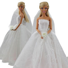 Saleaman Wedding Dress for Pretty Doll Princess Evening Party Clothes Wears Long Dress Outfit Set for Barbie Doll with Veil new arrvial doll s quality evening fishtail princess wedding eveningl dress for barbie doll