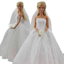 a84f32cb8ab863 Saleaman Trouwjurk voor Mooie Pop Prinses Avond Party Kleding Draagt Lange  Jurk Outfit Set voor Barbie Pop met Sluier