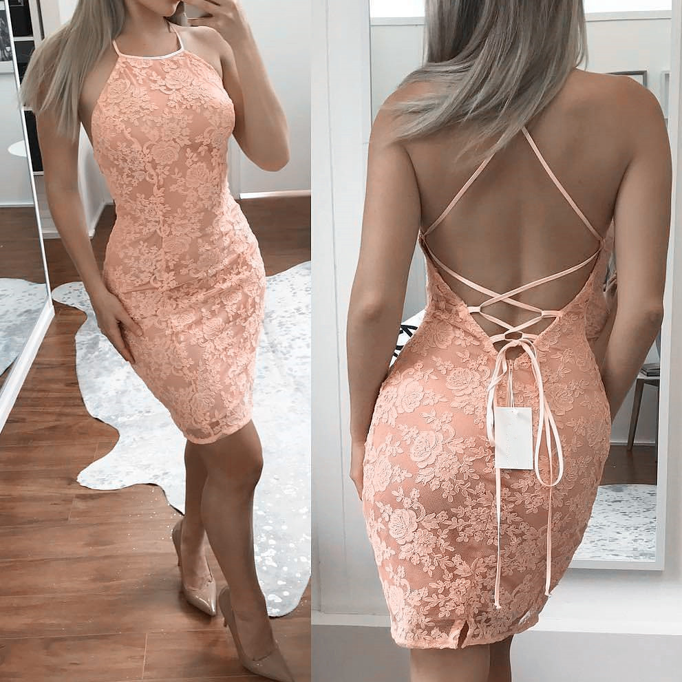 Sexy Backless Short Prom Dresses 2019 vestidos de fiesta largos elegantes de gala Lace Imported Party Dress Mini Evening Gowns