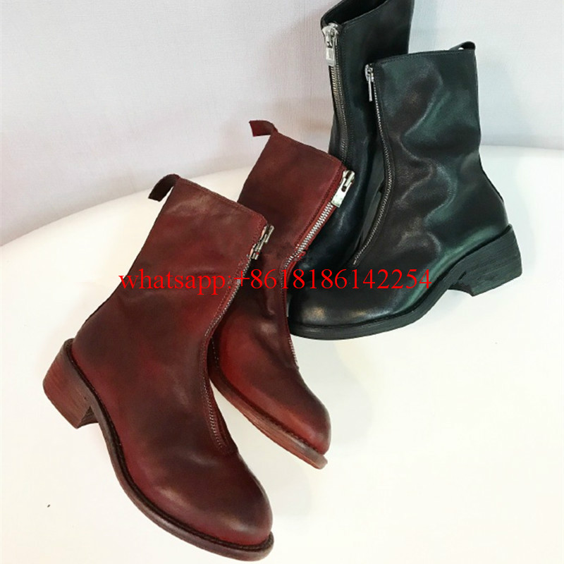 British Martin Boots Female Front Zipper Pleated Ankle Boots Retro Fold Bare Boots Soft Leather Bottes Femmes Spring/Autumn 2016