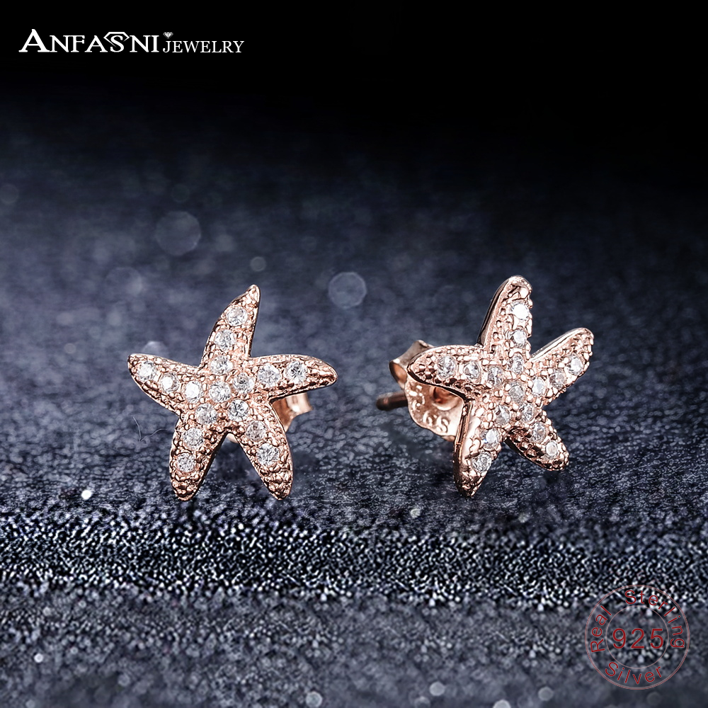 купить ANFASNI NEW 925 Sterling Silver Sea Star Stud Earrings For Women Micro Pave AAA Cubic Zirconia Rose Gold-Color Jewelry Gift недорого