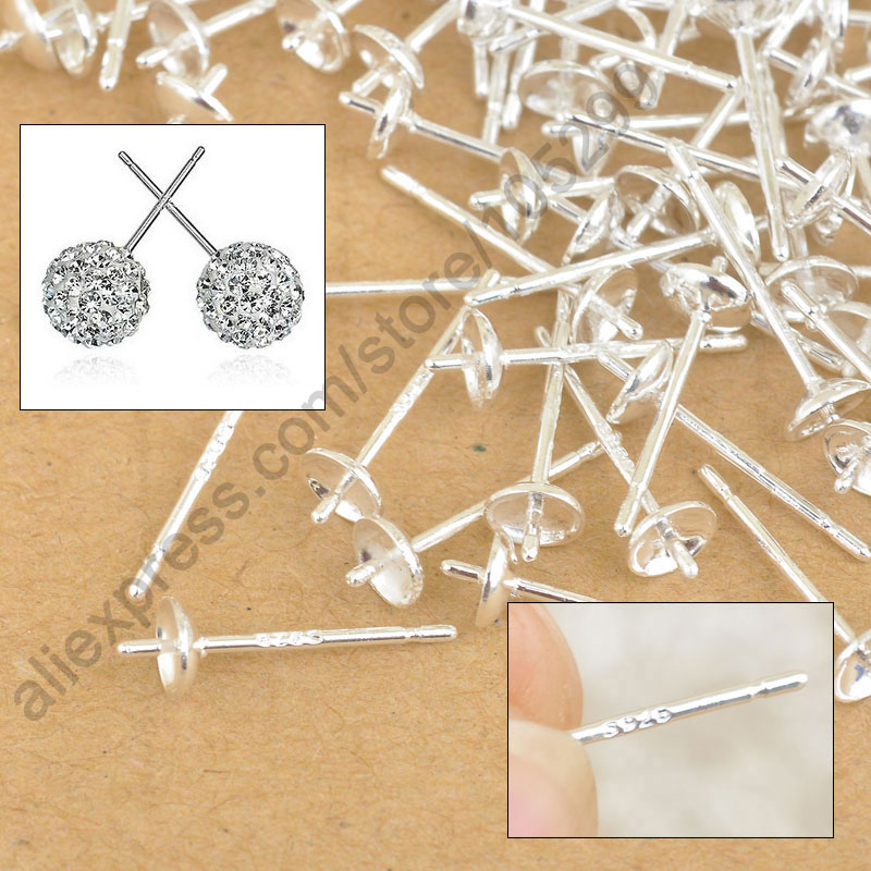 Free Shipping Wholesale 500PCS Lot 925 Sterling Silver Ear Pin Pairs Stud Earrings Findings Supplies Back Lock Post Pad