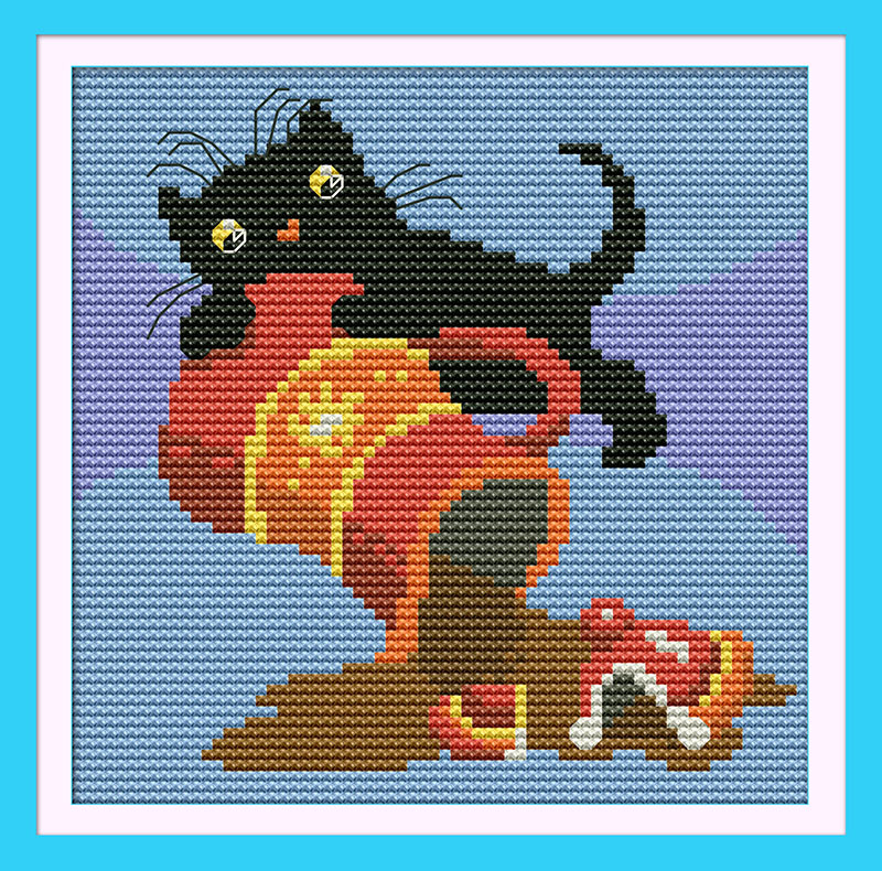 Black Cat(3)(Coffee) DMC Cartoon Cross stitch kits 14CT White 11CT Print Embroidery DIY Handmade Needlework Set Wall Home Decor