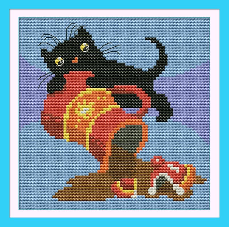 Black Cat(3)(Coffee) DMC Cartoon Cross stitch kits 14CT White 11CT Print Embroidery DIY Handmade Needlework Set Wall Home Decor