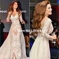 Preciosa Sirena Vestido de Noche Con la Manga Del Casquillo 2016 de La Vendimia Apliques de Encaje Largo Vestido de Jennifer Lopez Vestidos de La Celebridad