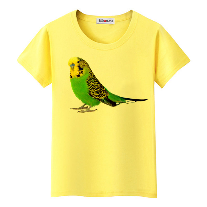 New Summer Women T-shirt Colorful Flowery Lovebird Watercolor T-shirt Casual Tops Female Novelty Tee Cute Girl Short Sleeve Discounts Price Tops & Tees
