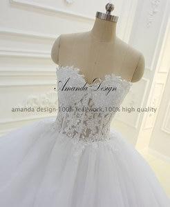 Image 3 - Amanda Thiết Kế Strapless Xem Qua Ren Appliques Bóng Gown Wedding Dress