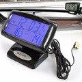 Auto Digital Lcd Indoor E Outdoor Temperatura Termômetro Voltímetro Tester Medidor Monitor de Tensão Carro Relógio Alarme Duplo