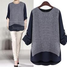New 2016 Massimo Women Long Sleeve T-Shirts Cotton Casual Shirt Tropical Blusas Femininas Laides Tops White Blue Clothing S065