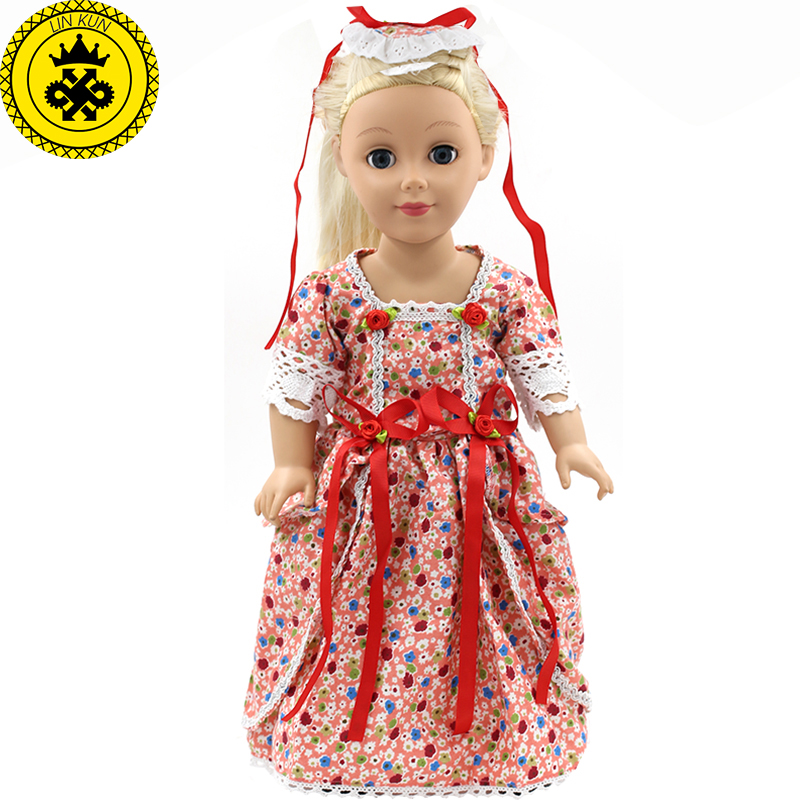 Dolls Accessories Japan Fashion Print Dress Headband Outfit Fits American Girl Doll and other 18 inch Dolls MG-056 9 colors american girl doll dress 18 inch doll clothes and accessories dresses